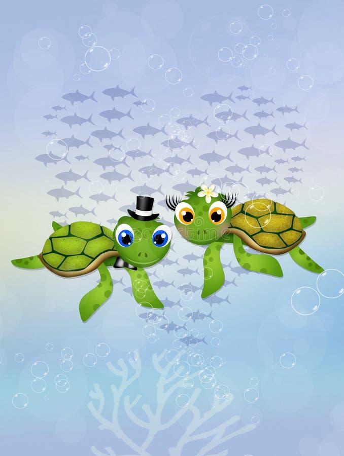 Tortugas de mar adentro en el océano stock de ilustración