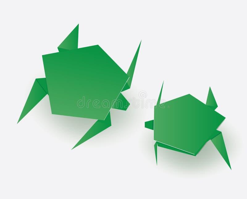 Tortugas verdes de la papiroflexia en el fondo blanco imagenes de archivo