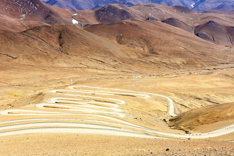 Tortuous mountain road. Everest (Qomolangma) referred to Everest, but also Italian translation Everest, Nepal called Sacramento Mata Peak, also known as Egypt royalty free stock photography
