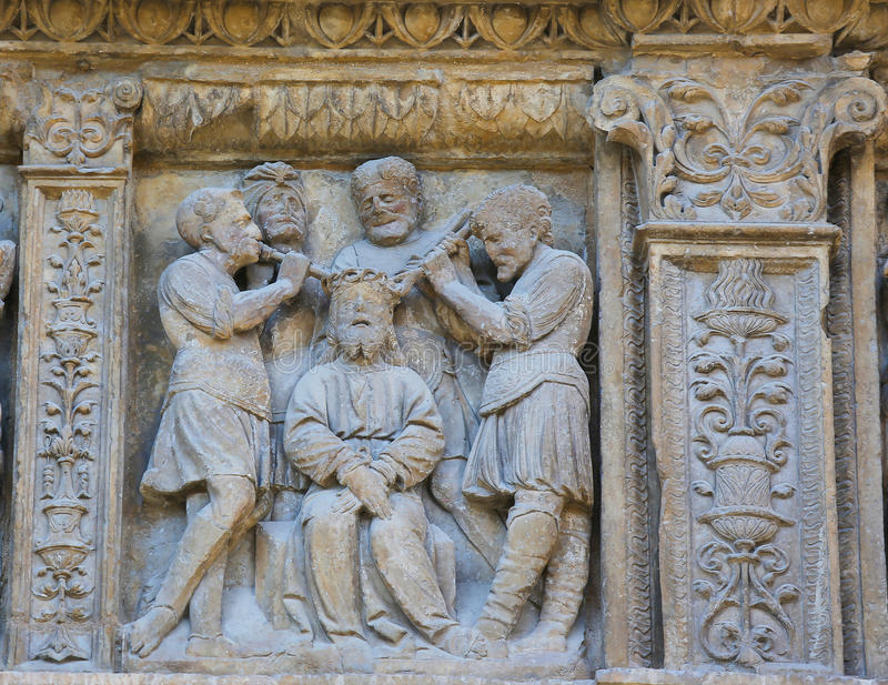 Tortura di Gesù al san Thomas Church della strada rialzata, La Rioja fotografie stock