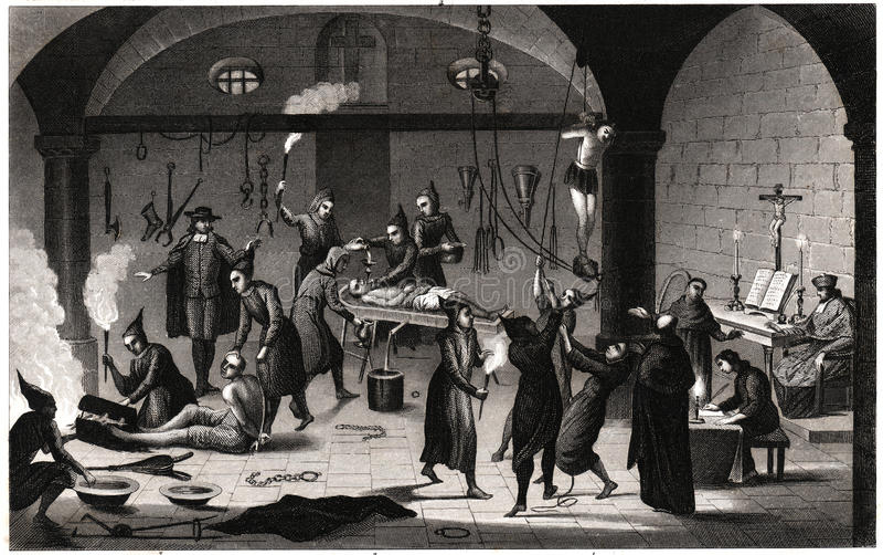 Tortura española de Inquistion ilustración del vector