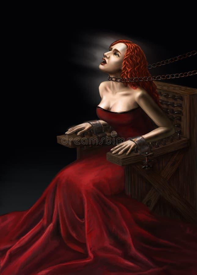 Tortura medieval de brujas stock de ilustración