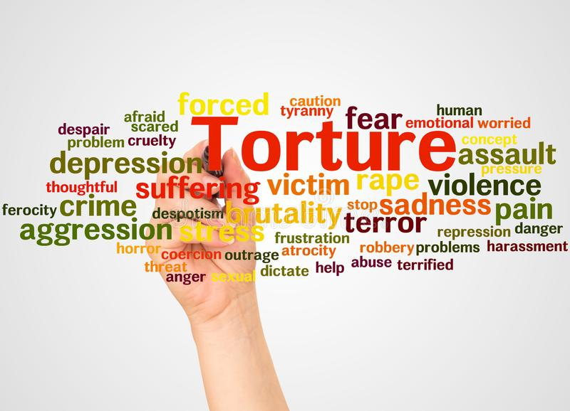 Tortury słowa ręka z markiera pojęciem i chmura zdjęcie royalty free