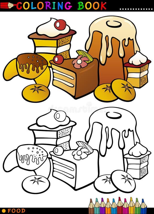 Torty i ciastka dla kolorystyki ilustracja wektor