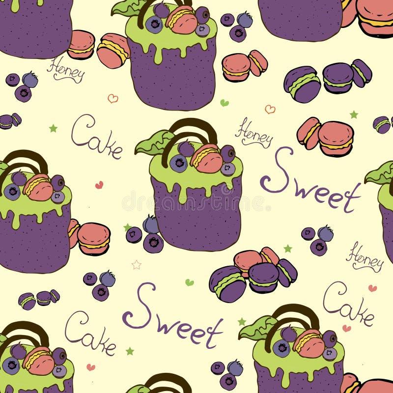 torty i desery z owoc ilustracji