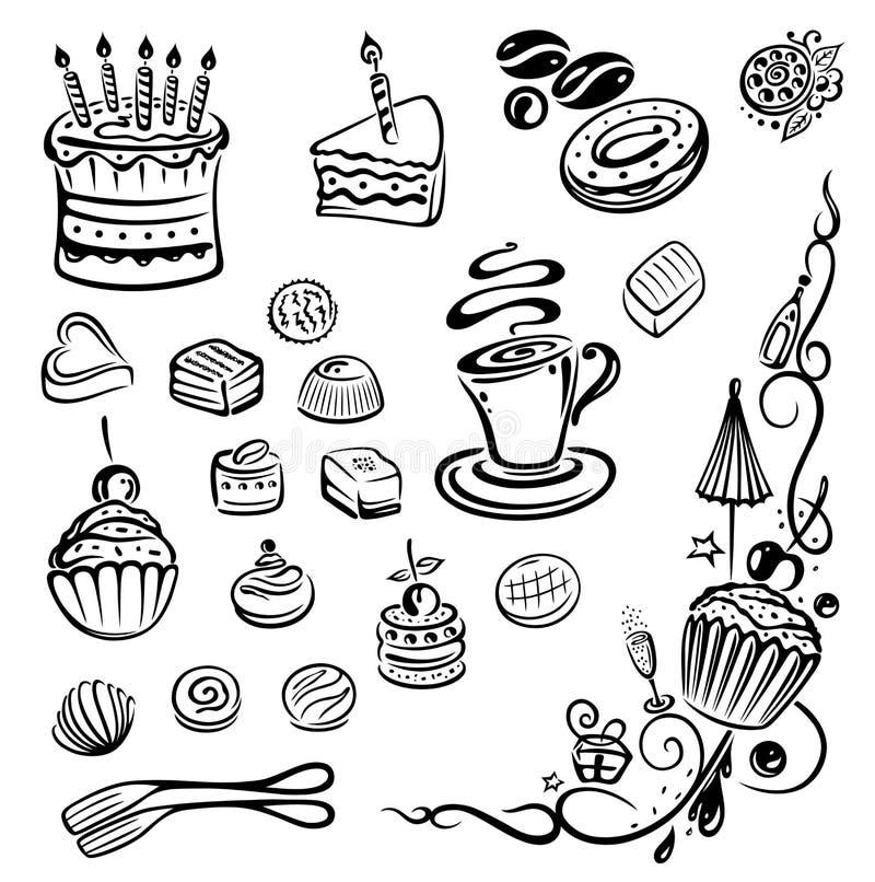 Torty, kulebiak, praline royalty ilustracja