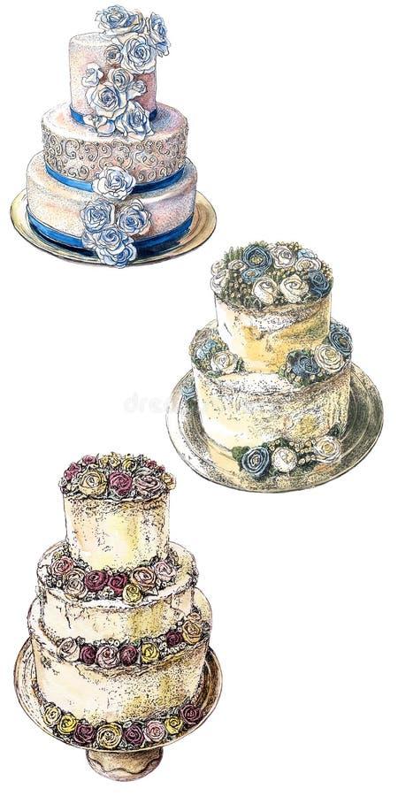 torty ustawiający ślub ilustracji