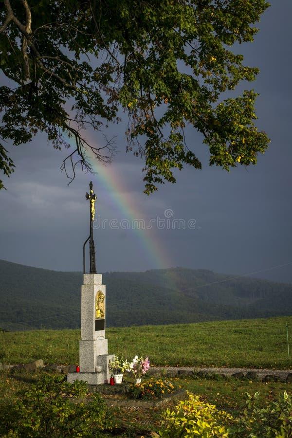 Tortyr för gud` s under ett träd på en kulle och en regnbåge arkivbild