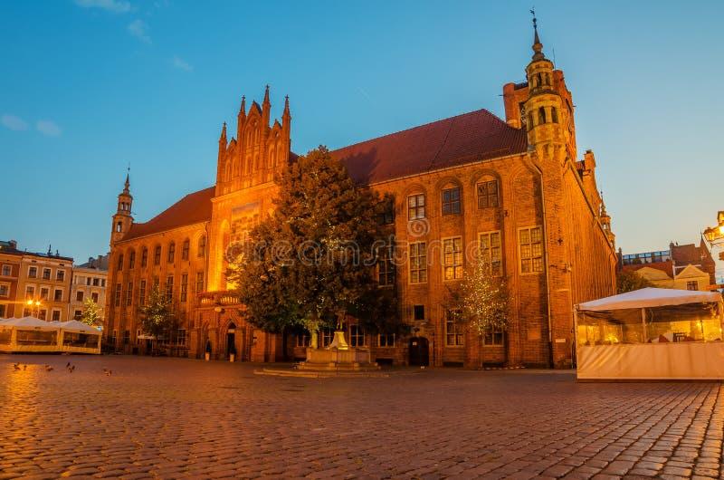 Toruński, Polska: stary miasteczko, urząd miasta obraz stock