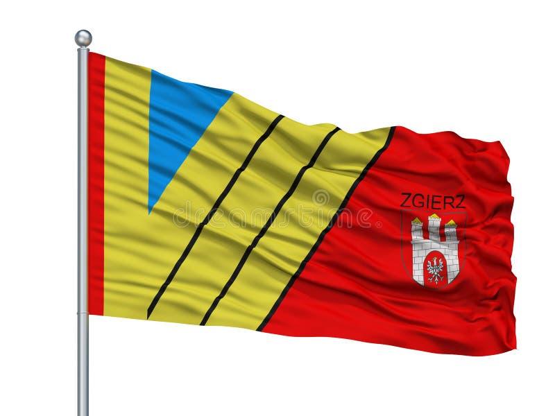 Torun City Flag On Flagpole, Pologne, d'isolement sur le fond blanc illustration stock