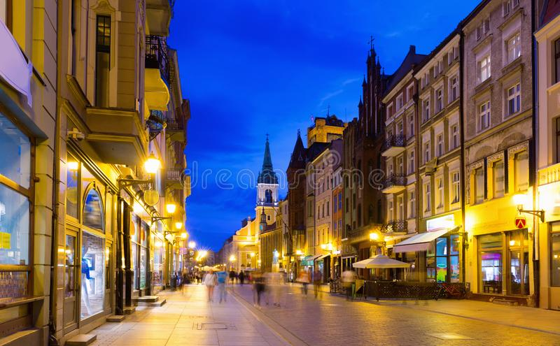 Torun  city historical streets and  building at evening in Poland. Image of Torun  city historical streets and  building at evening in Poland stock photography