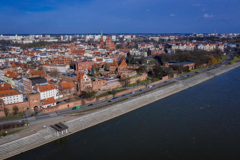 Torun city in Poland. Drone view of historic part of Torun city over Vistula River in Poland, old, town, photography, aerial, above, point, high, angle, polish stock photography