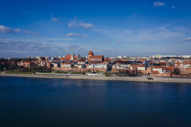 Torun city in Poland. Drone view Torun city over Vistula River in Poland with St John the Baptist Cathedral and Church of Holy Spirit, old, town, photography stock photography