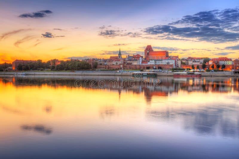 Download Torun Old Town Reflected In Vistula River At Sunset Stock Photo - Image: 33210514