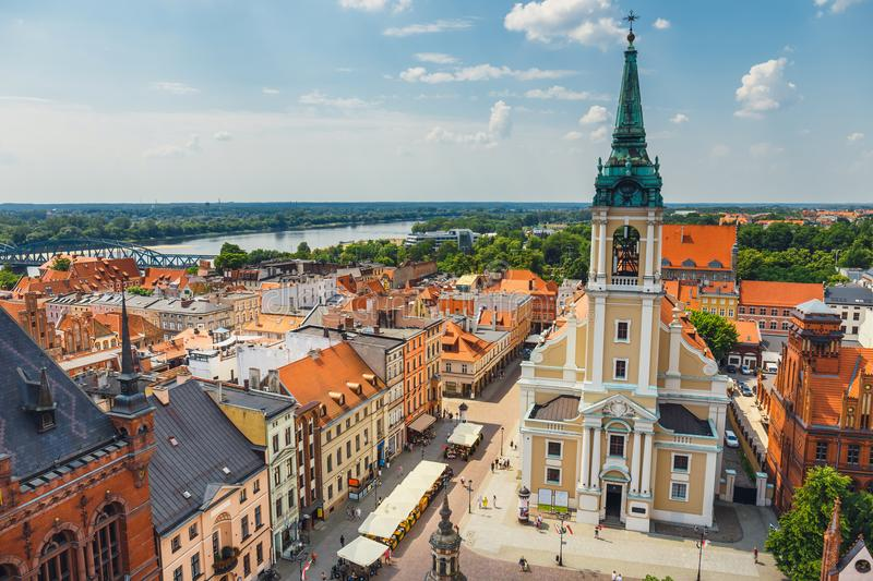 Torun, Poland - June 01, 2018: Aerial view of historical buildings and roofs in Polish medieval town Torun, Poland. Torun is the p. Lace where the Nicolaus royalty free stock photo
