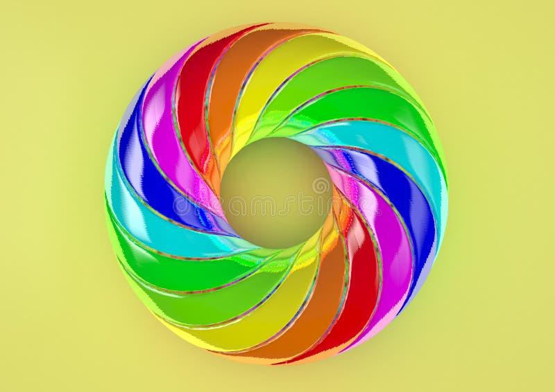 Torus av dubbelt vriden vit bakgrund för remsor - abstrakt färgrik Shape 3D illustration arkivfoton