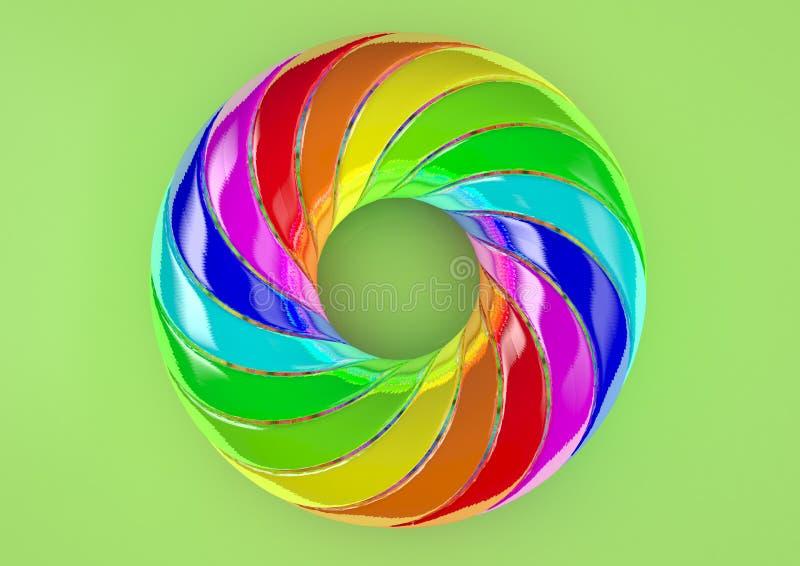 Torus av dubbelt vriden vit bakgrund för remsor - abstrakt färgrik Shape 3D illustration arkivbild