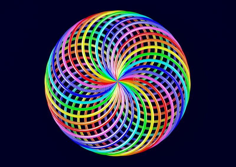 Torus av Möbius remsor - abstrakt färgrik Shape 3D illustration royaltyfria bilder