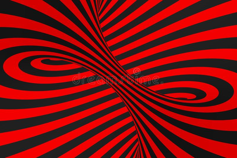 Torus 3D optical illusion raster illustration. Hypnotic black and red tube image. Contrast twisting loops, stripes ornament. stock images