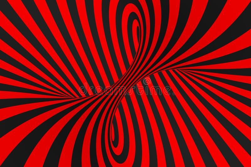 Torus 3D optical illusion raster illustration. Hypnotic black and red tube image. Contrast twisting loops, stripes ornament. stock photo