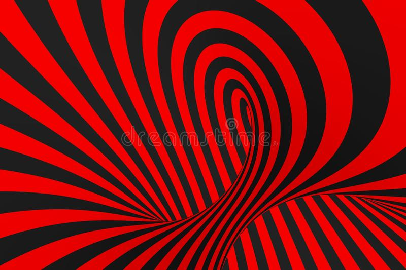 Torus 3D optical illusion raster illustration. Hypnotic black and red tube image. Contrast twisting loops, stripes ornament. stock image