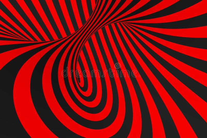 Torus 3D optical illusion raster illustration. Hypnotic black and red tube image. Contrast twisting loops, stripes ornament. royalty free stock photography