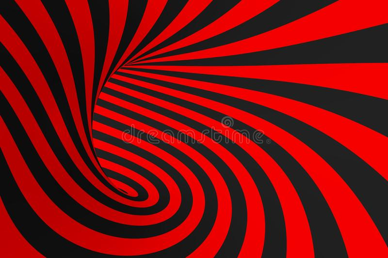 Torus 3D optical illusion raster illustration. Hypnotic black and red tube image. Contrast twisting loops, stripes ornament. royalty free stock photos