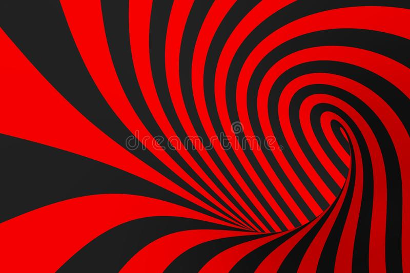 Torus 3D optical illusion raster illustration. Hypnotic black and red tube image. Contrast twisting loops, stripes ornament. royalty free stock image