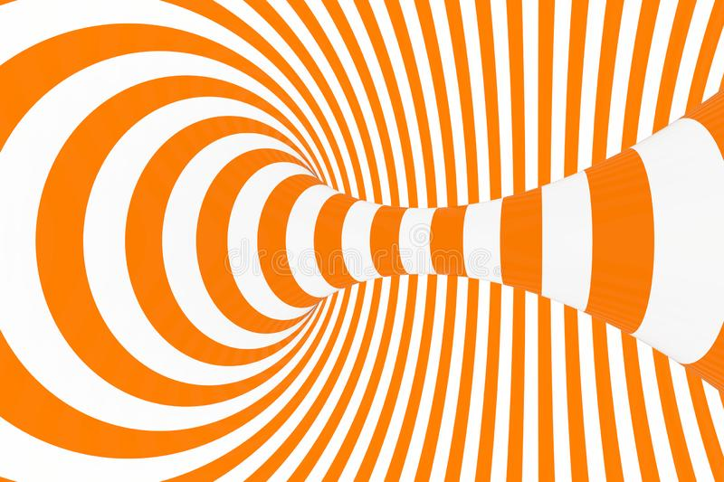 Torus 3D optical illusion raster illustration. Hypnotic white and orange tube image. Contrast twisting loops, stripes ornament. stock images