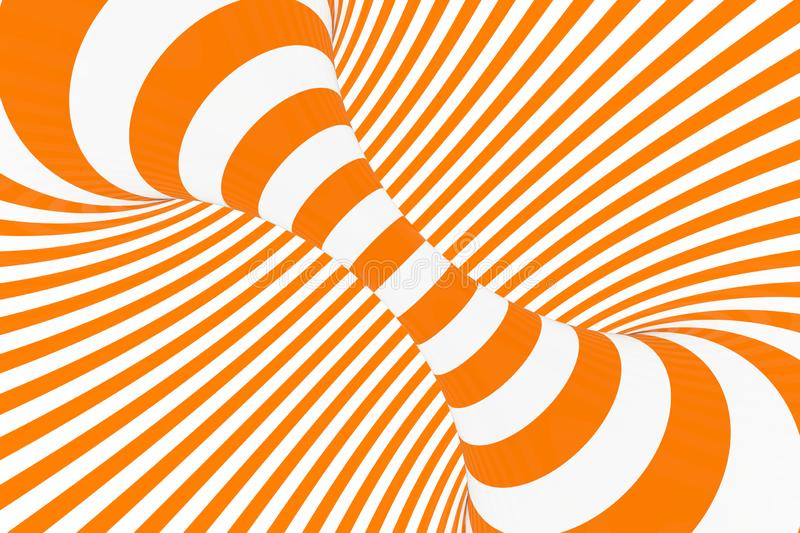 Torus 3D optical illusion raster illustration. Hypnotic white and orange tube image. Contrast twisting loops, stripes ornament. royalty free stock photo