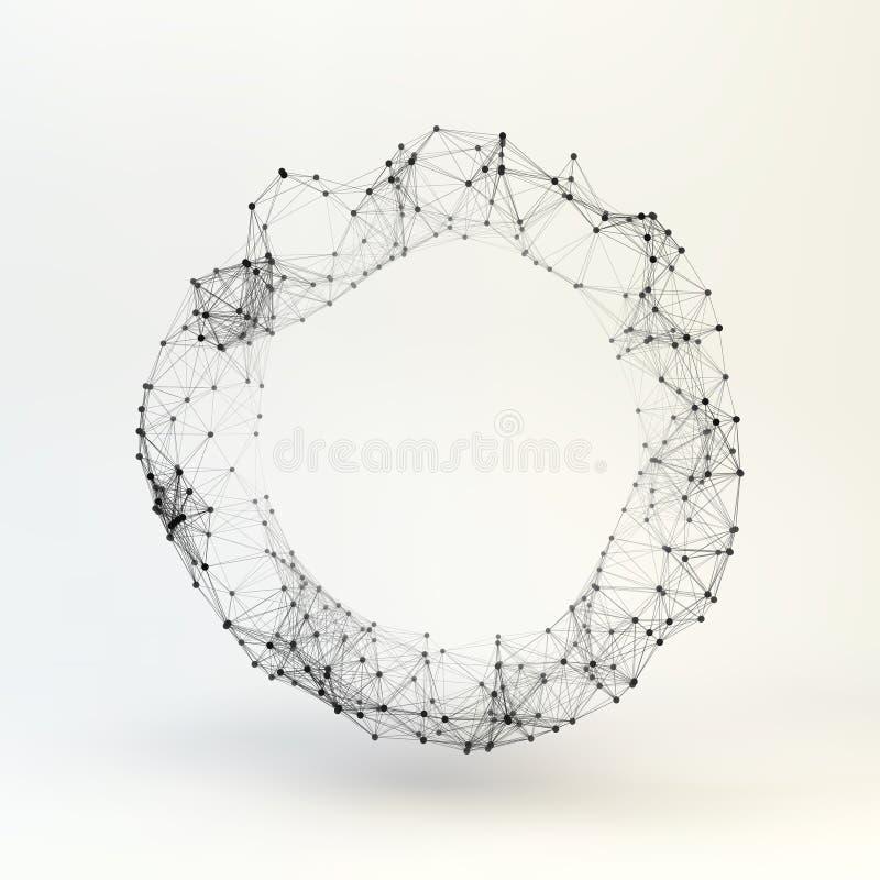 torus kratownica cząsteczkowa Podłączeniowa struktura 3d wektor ilustracji