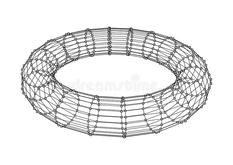 Torus with line and dots on white. Vector illustration vector illustration