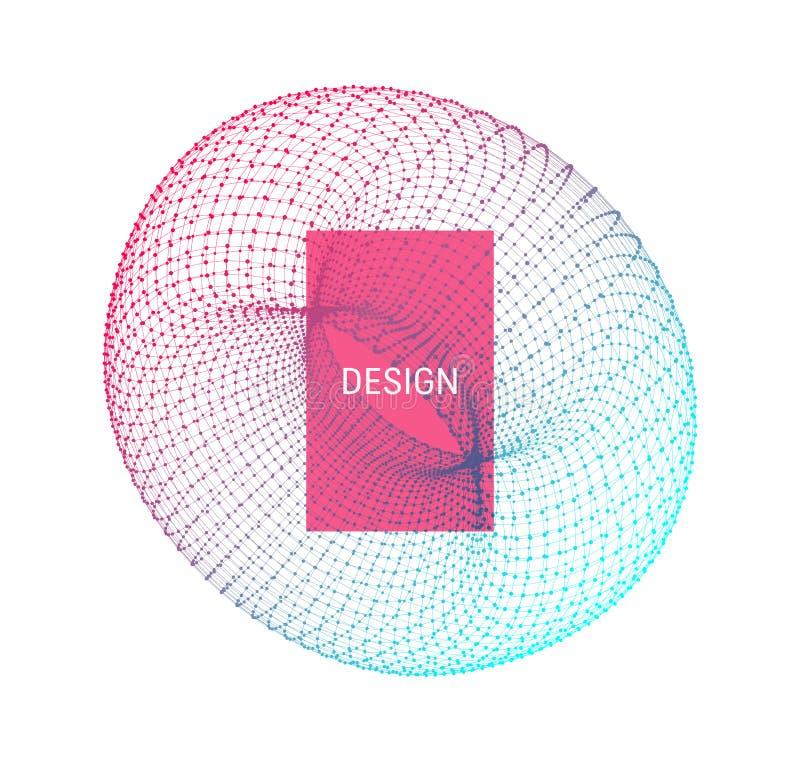 torus Objeto com linhas e pontos Ilustração de Wireframe Projeto abstrato da grade 3D Estilo da tecnologia ilustração stock