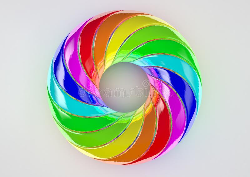 Torus van extra Verdraaide Stroken Witte Achtergrond - Abstracte Kleurrijke Vorm 3D Illustratie stock foto's