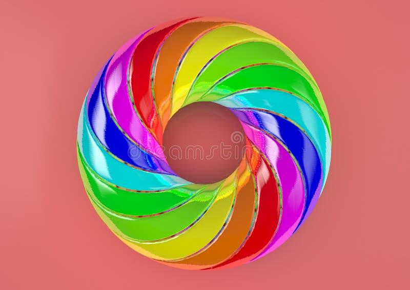 Torus van extra Verdraaide Stroken Witte Achtergrond - Abstracte Kleurrijke Vorm 3D Illustratie stock afbeelding