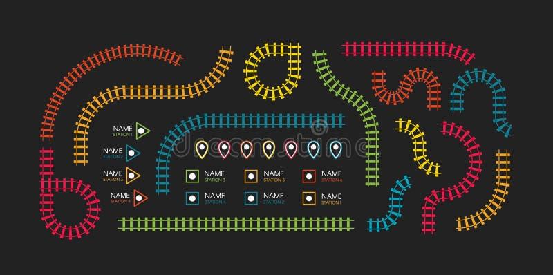 Tory szynowi, stacje metru kartografują odgórnego widok, infographic elementy Kolejowy prosty ikona set, linia kolejowa kierunek ilustracja wektor