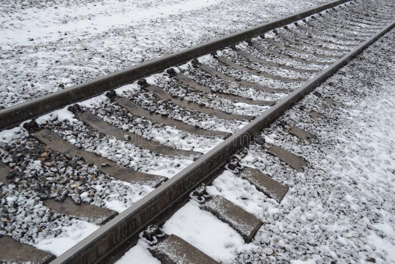Tory szynowi zakrywający z śniegiem obrazy royalty free