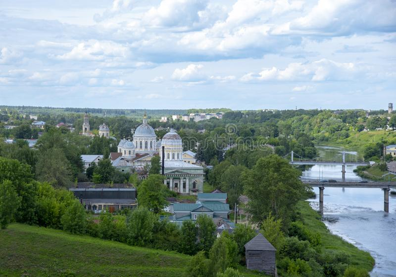 Top view of a provincial town. Summer landscape. Torzhok. Town in Tver Oblast, Russia , June 2019, view of a small provincial town. Summer landscape stock photo