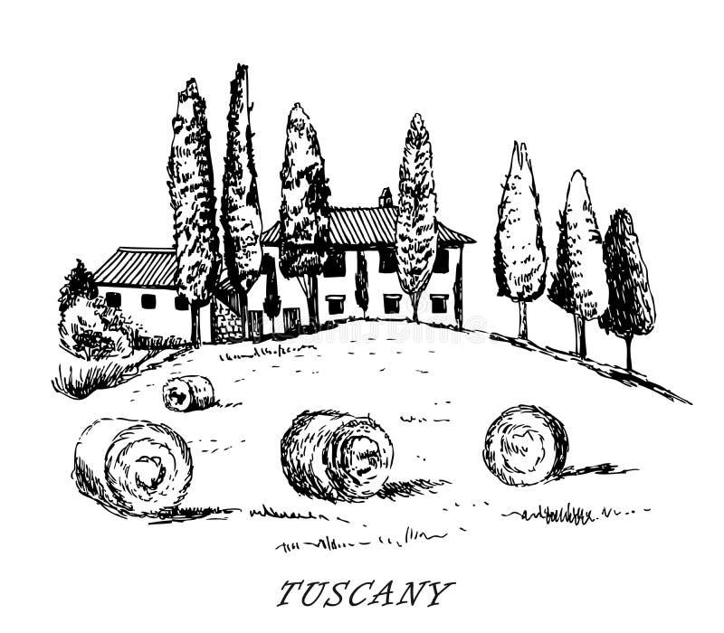 tosc?nia Italy Paisagem rural O projeto do vintage esboçou o vetor ilustração do vetor