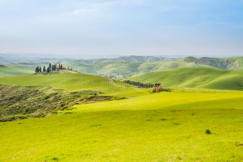Toscaans landschap dichtbij Volterra (Pisa, Italië) stock foto's