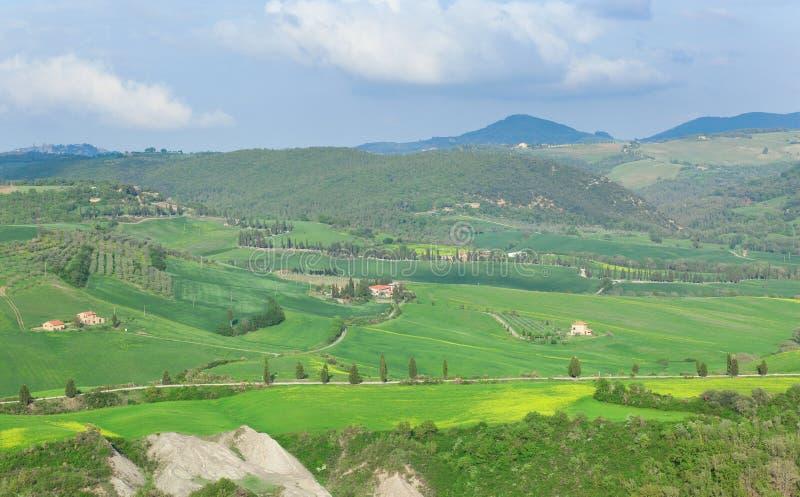 Toscaans landschap met mooie heuvels stock afbeelding
