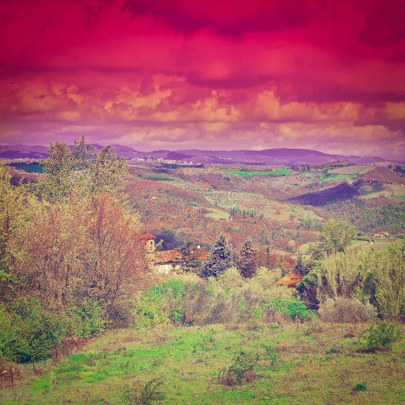 Toscana en la puesta del sol fotos de archivo libres de regalías