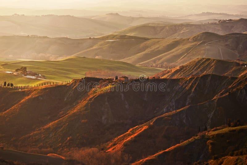 Toscanië, Volterra Le Balze landelijk landschap Italië royalty-vrije stock afbeeldingen