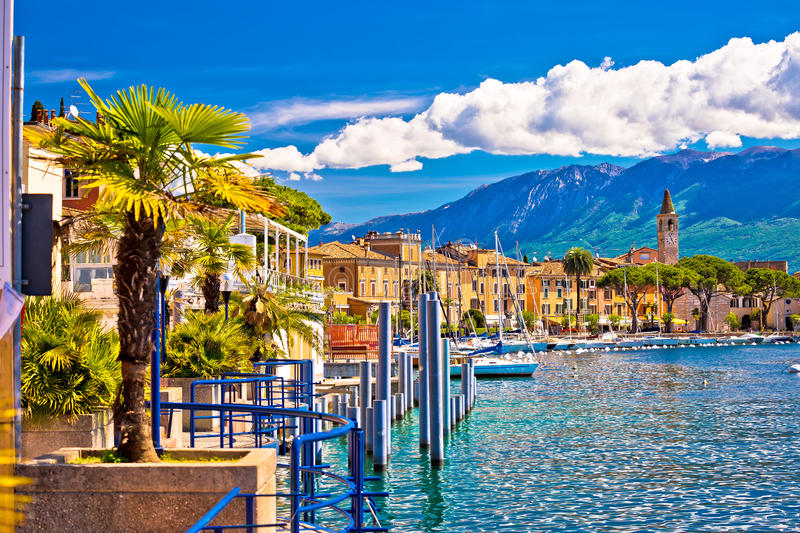 Toscolarno Maderno village on Lago di Garda view. Lombardy region of Italy royalty free stock images
