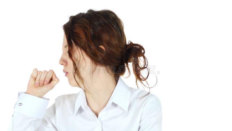 Toser a la mujer, fondo blanco fotografía de archivo libre de regalías