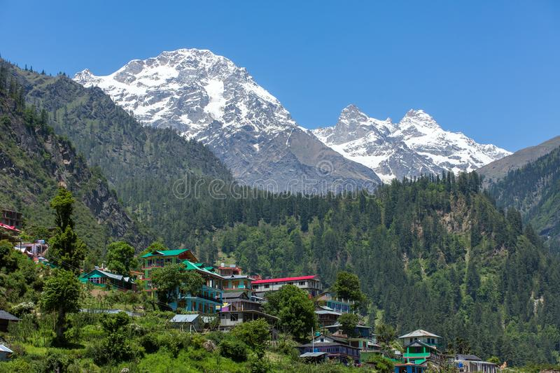 Tosh village in beautiful Parvati valley in Himachal Pradesh state. Northern India stock photo