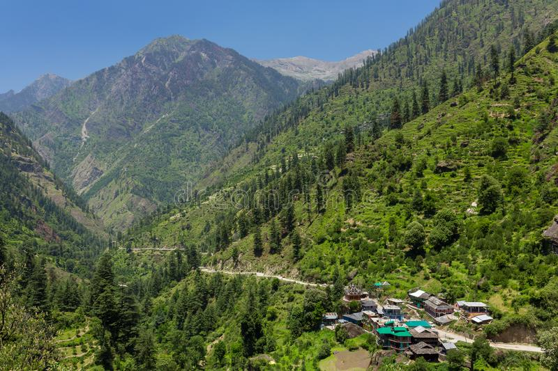 Tosh village in beautiful Parvati valley in Himachal Pradesh state. Northern India stock photography