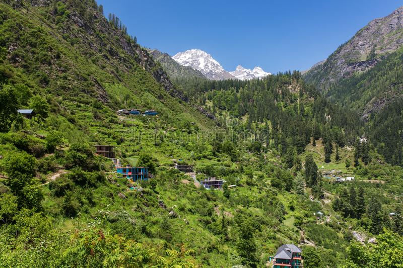 Tosh village in beautiful Parvati valley in Himachal Pradesh state. Northern India stock images