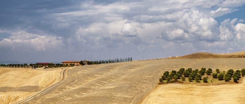 Toskana: die Straße von Asciano nach Siena stockfoto