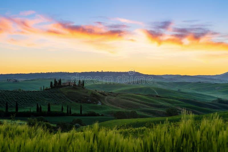Toskana-Landschaft im Sonnenaufgang lizenzfreie stockfotografie